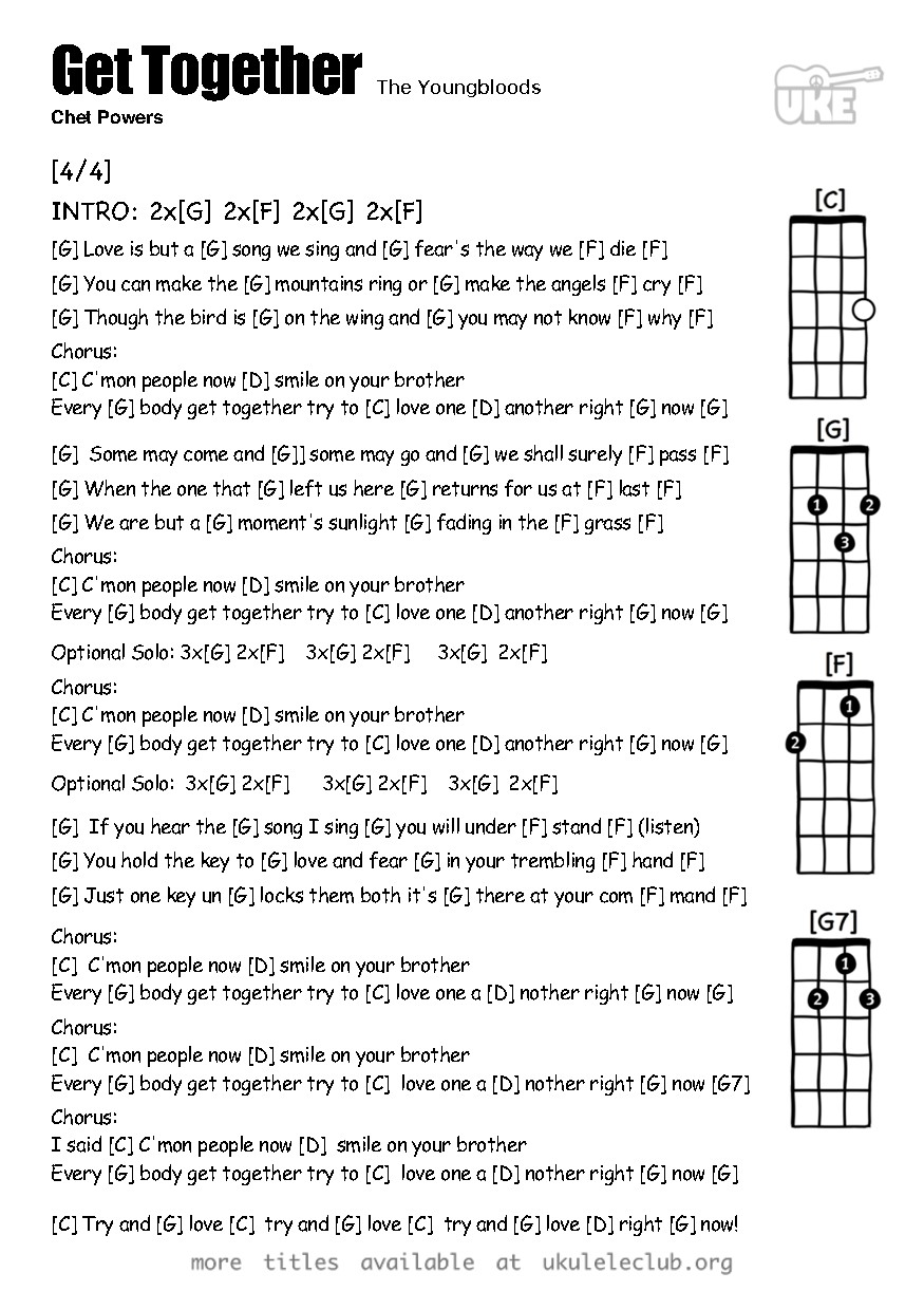 Ukulele chords get together by the youngbloods