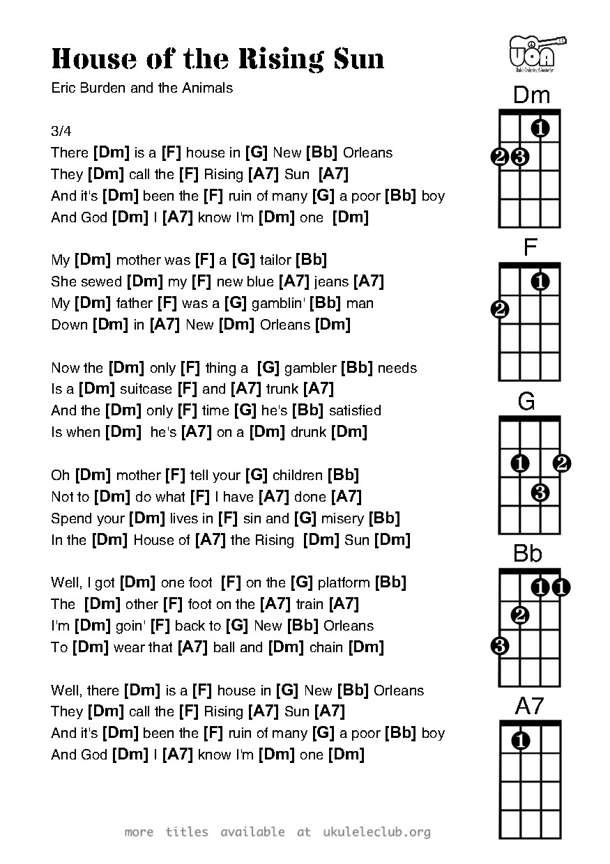 House Of The Rising Sun 3 Chords Images Free Download Old