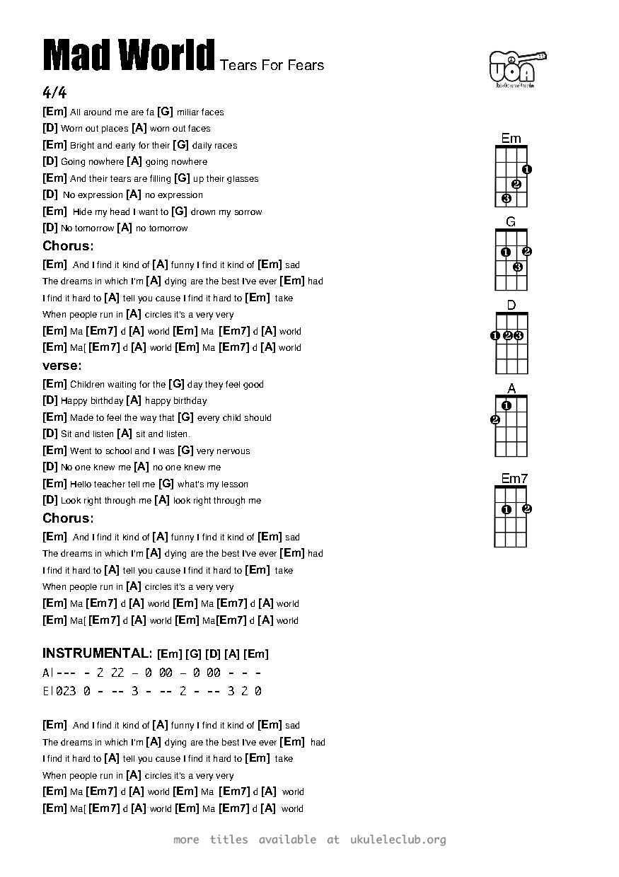 Ukulele chords mad world by tears for fears pdf thumbnail should appear here hexwebz Images