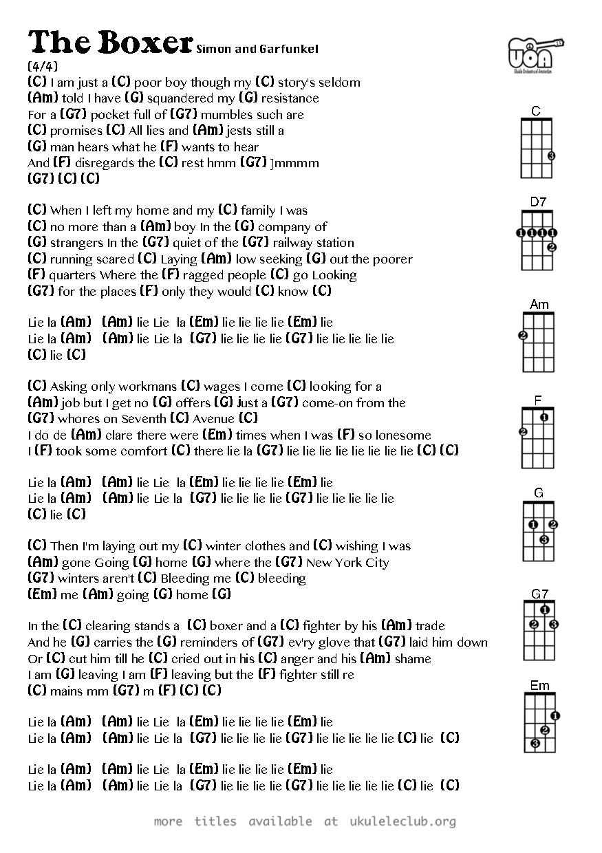 Ukulele Chords The Boxer By Simon And Garfunkel