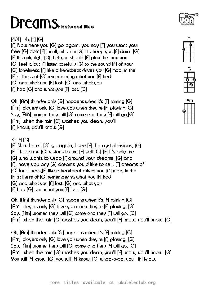 Ukulele Chords Dreams By Fleetwood Mac
