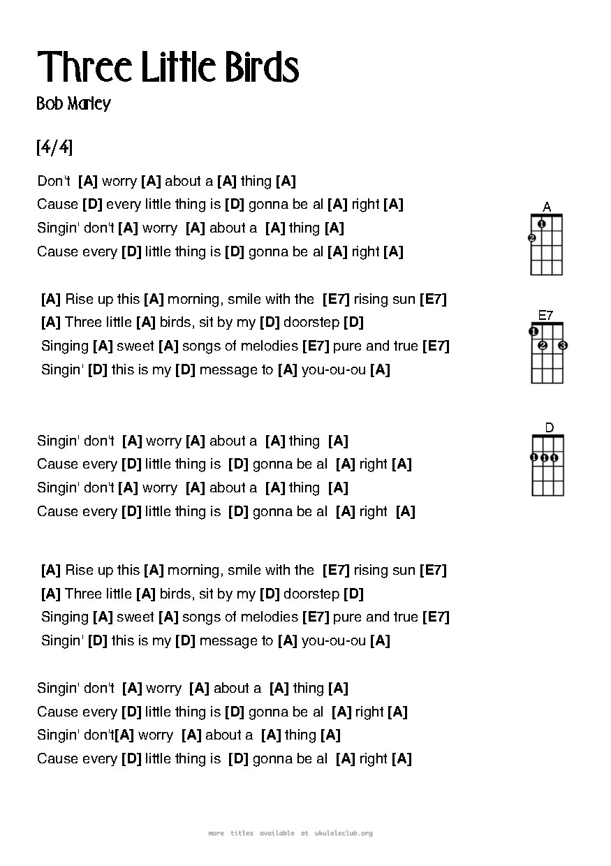 Ukulele Chords Three Little Birds By Bob Marley And The Wailers