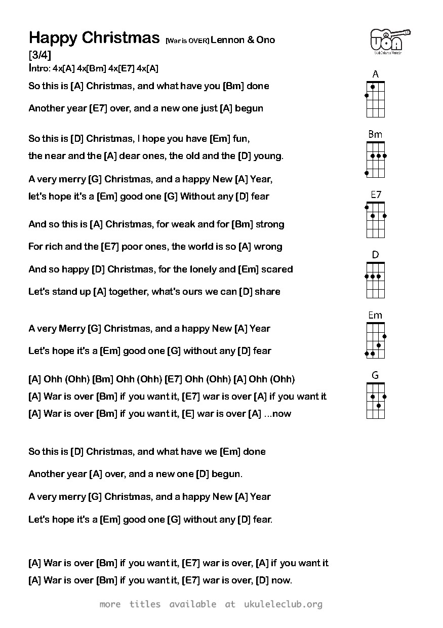 Ukulele chords - Happy Christmas (War is Over) by John Lennon & Yoko Ono