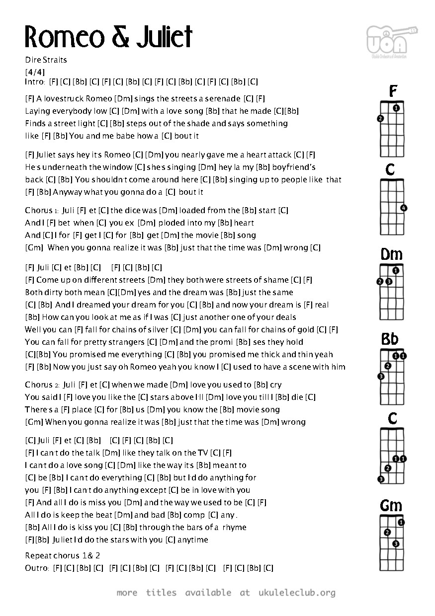 Ukulele Chords Romeo And Juliet By Dire Straits