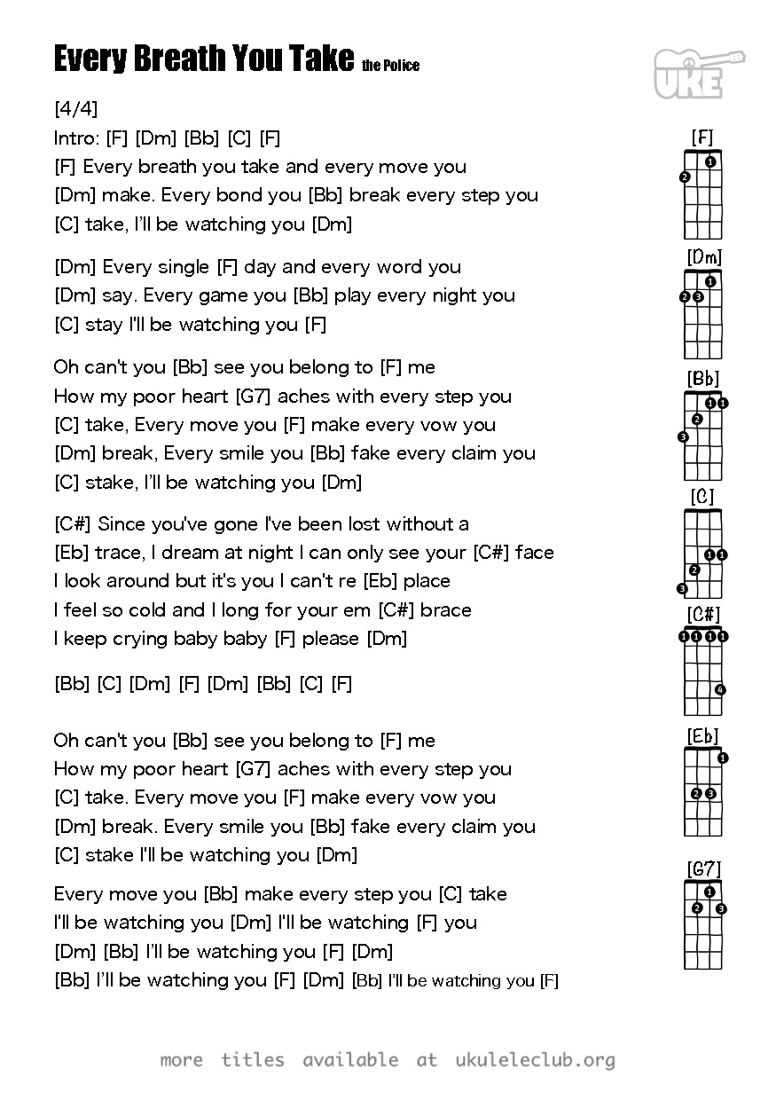 Ukulele chords every breath you take by the police pdf thumbnail should appear here hexwebz Images