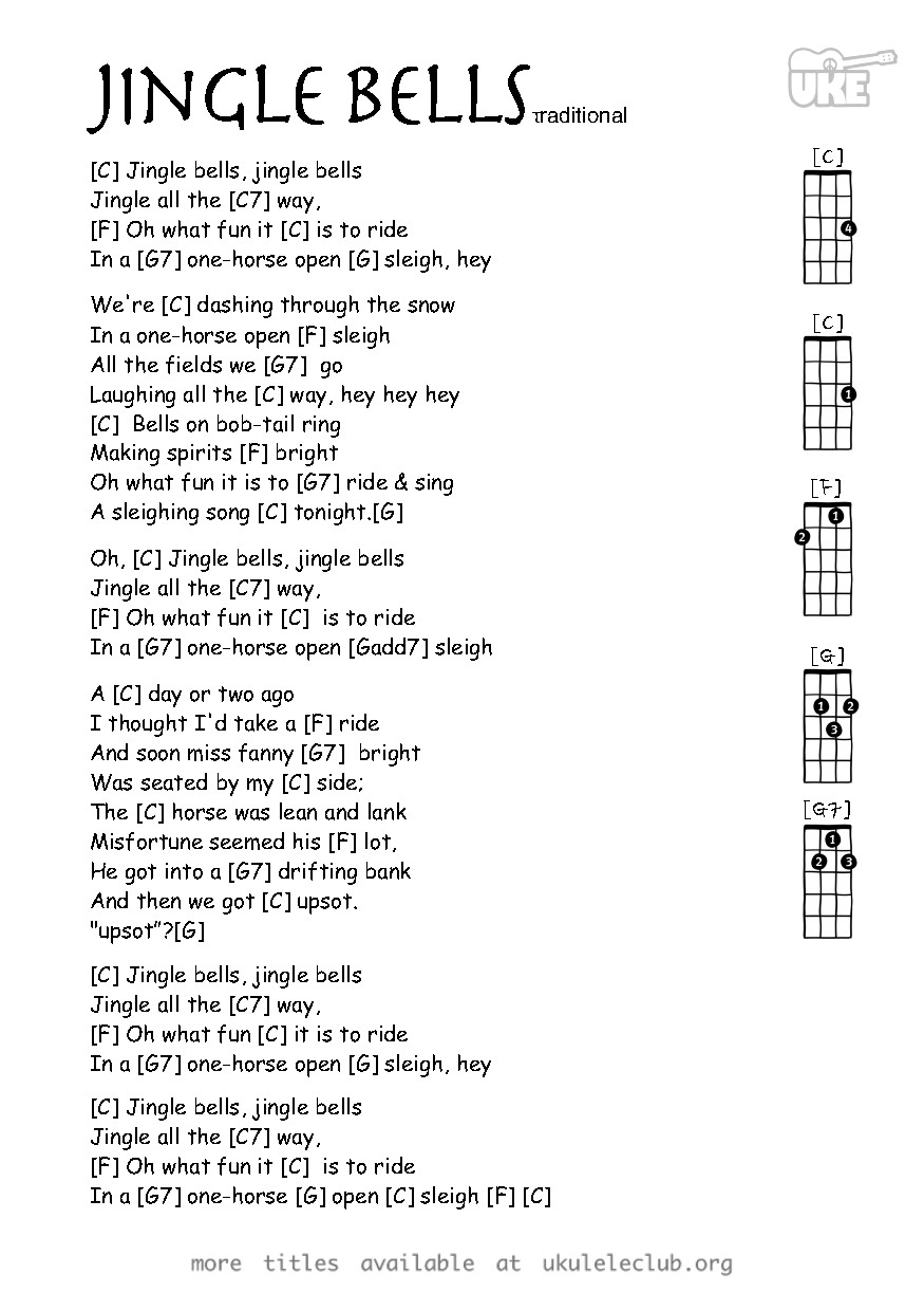 photo regarding Jingle Bells Lyrics Printable called Ukulele chords - Jingle Bells by way of James Lord Pierpont