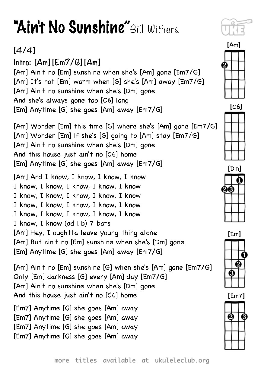Ukulele Chords Aint No Sunshine By Bill Withers