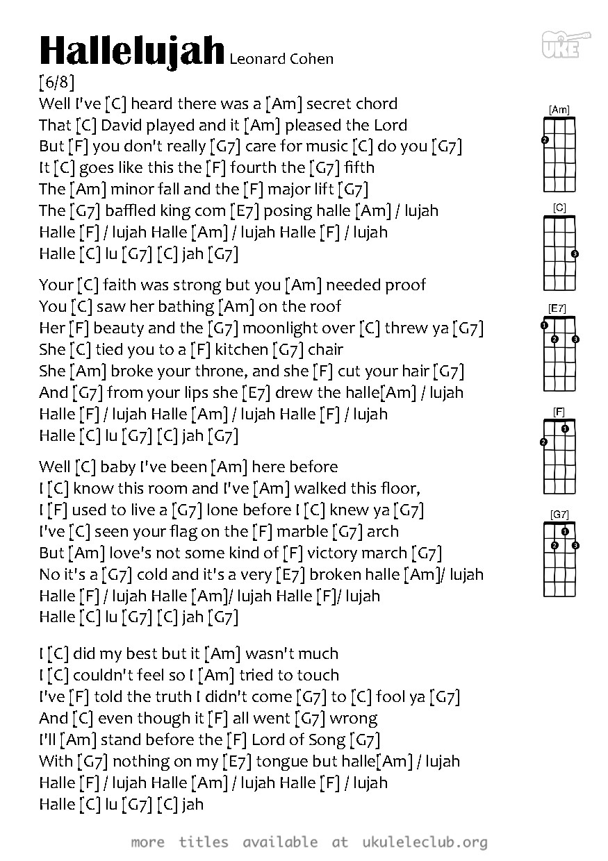 Ukulele chords hallelujah by leonard cohen pdf thumbnail should appear here hexwebz Images