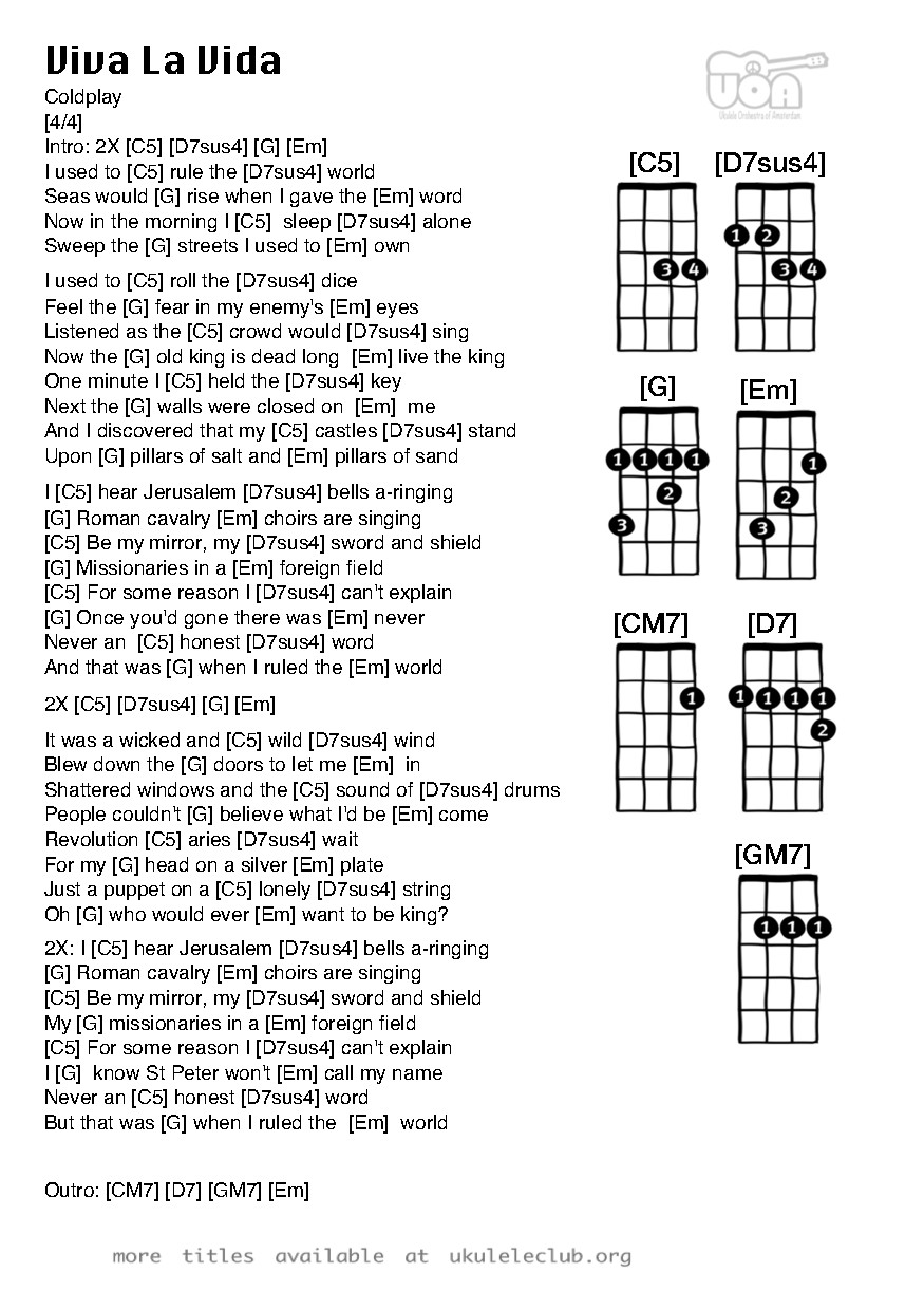 Ukulele chords viva la vida by coldplay pdf thumbnail should appear here hexwebz Gallery